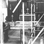 THE CHANCEL THROUGH THE SCAFFOLDING 1951