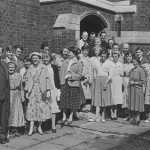 SUNDAY SCHOOL STAFF POURING OUT OF THE NAVE SOUTH DOOR