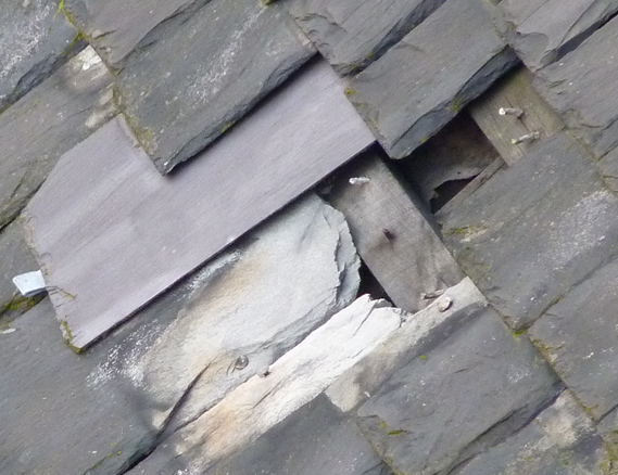 slate slippage increaases and cannot be mended without scaffolding- nb no felt on insulation